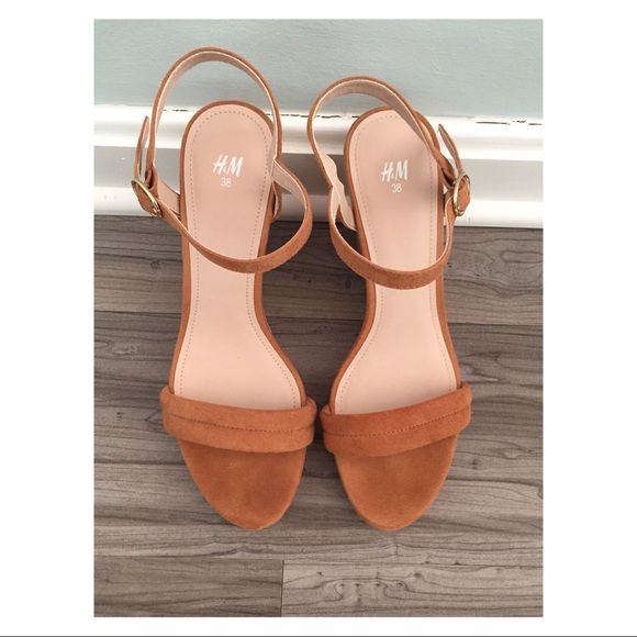 41a7cc26a2 H&M Shoes | Hm Suede Cognac Wedge Sandals | Poshmark